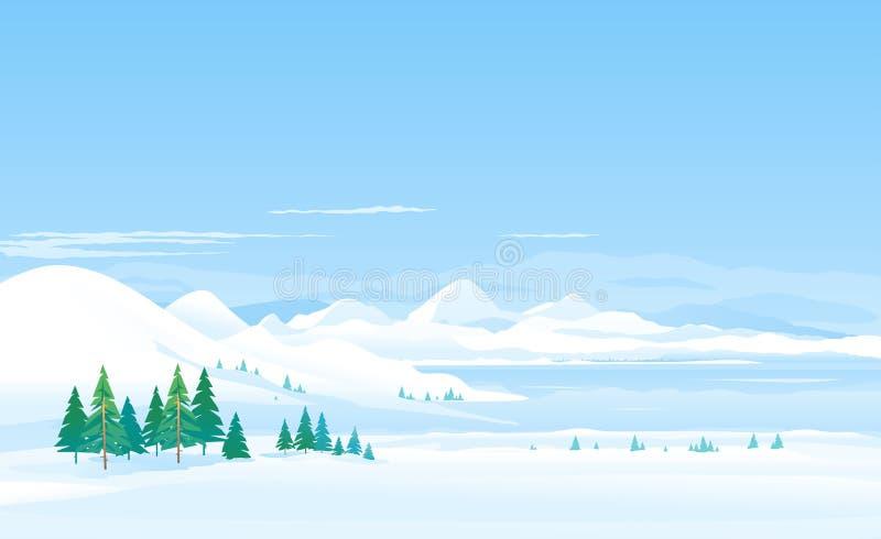 Lac winter dans le panorama de paysage de moutains illustration libre de droits