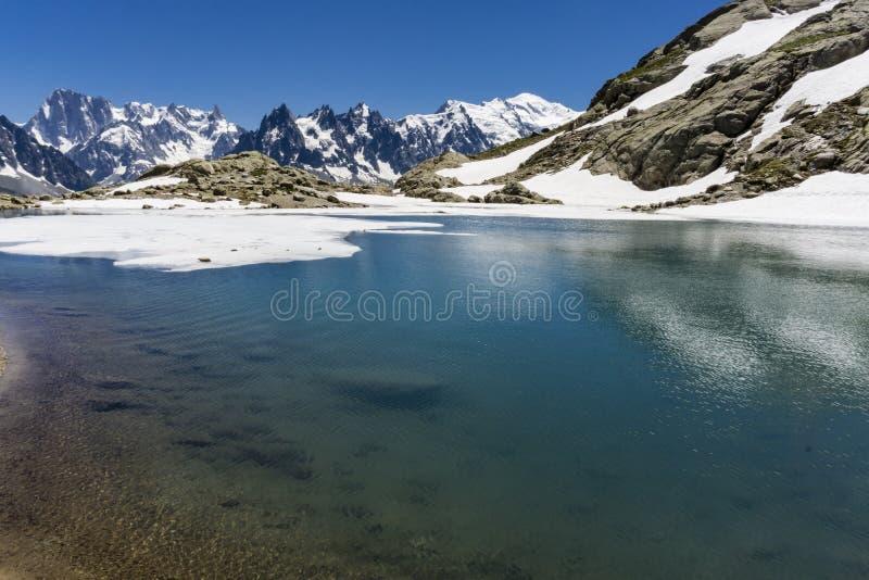 Laca Blanc del lago en el fondo del macizo de Mont Blanc montan@as fotografía de archivo