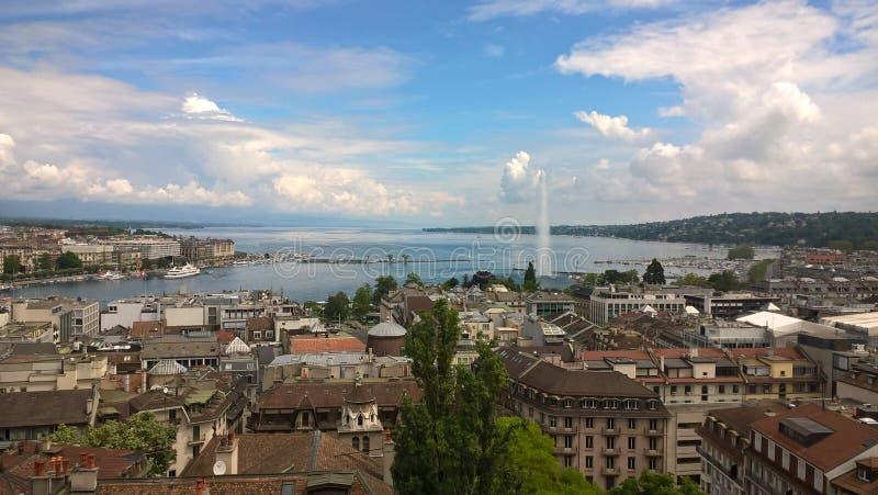 Laca Léman/Lac de Genève/Lake Genebra fotografia de stock