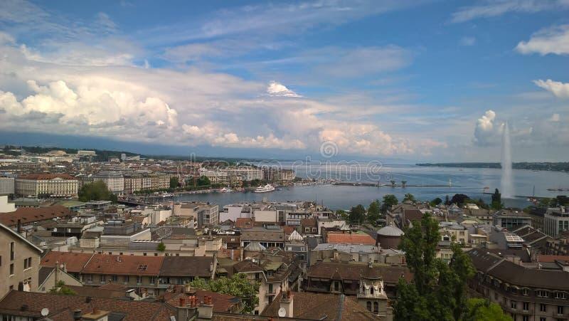 Laca Léman/Lac de Genève/Lake Genebra foto de stock royalty free