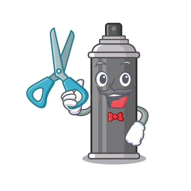 Laca para el pelo del peluquero aislada con la mascota ilustración del vector