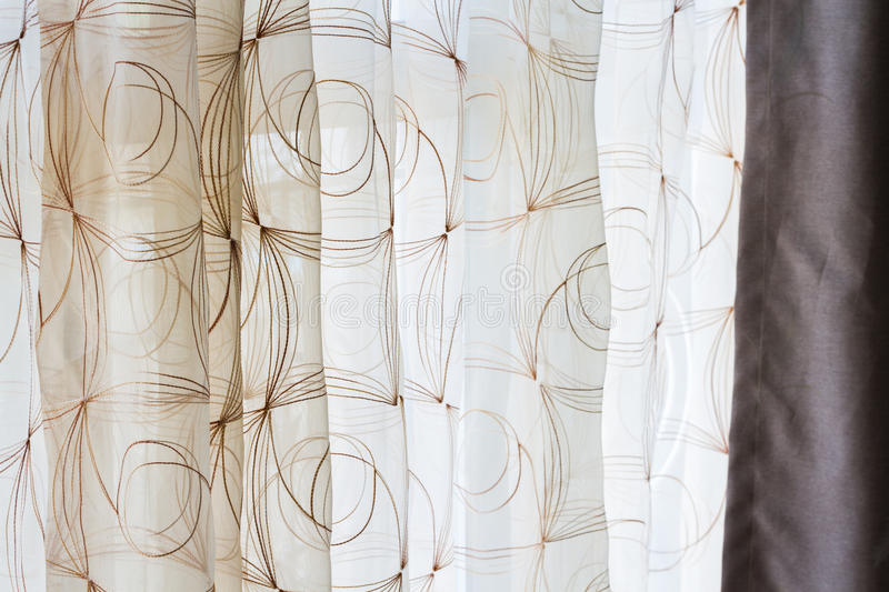 Lace airy curtain. For interior stock photos