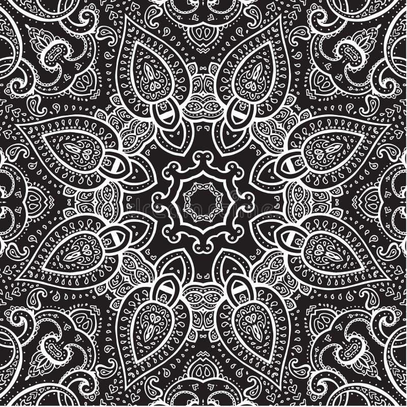 Lace background. White on black. Mandala. royalty free illustration