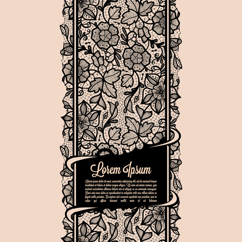Lace banners. Abstract Lace Ribbon Vertical banners.Template frame design for card.Lace Doily.Can be used for packaging, invitations, and template