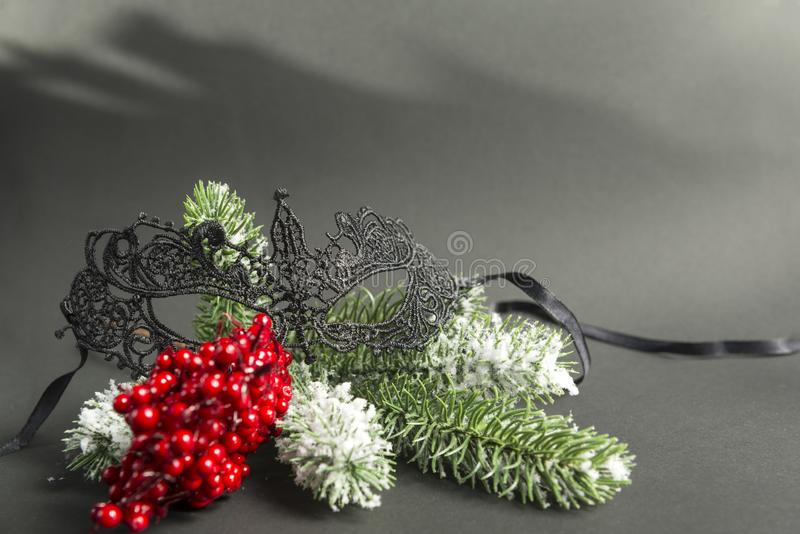Lace black masquerade mask on a fir branch with red berries on a. 1 lace black masquerade mask on a fir branch with red berries on a black background, Christmas stock image