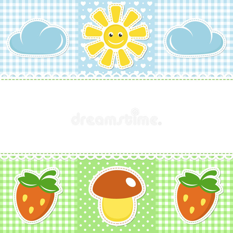 Lace border with mushroom and strawberry vector illustration