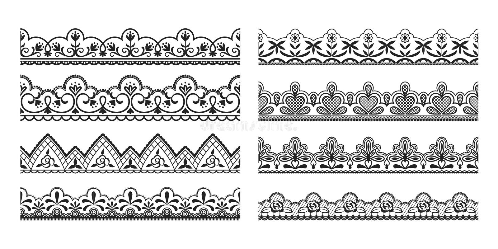 Lace borders. Seamless vintage decorative ribbons with ornamental and floral elements, cloth black tape pattern. Vector royalty free illustration