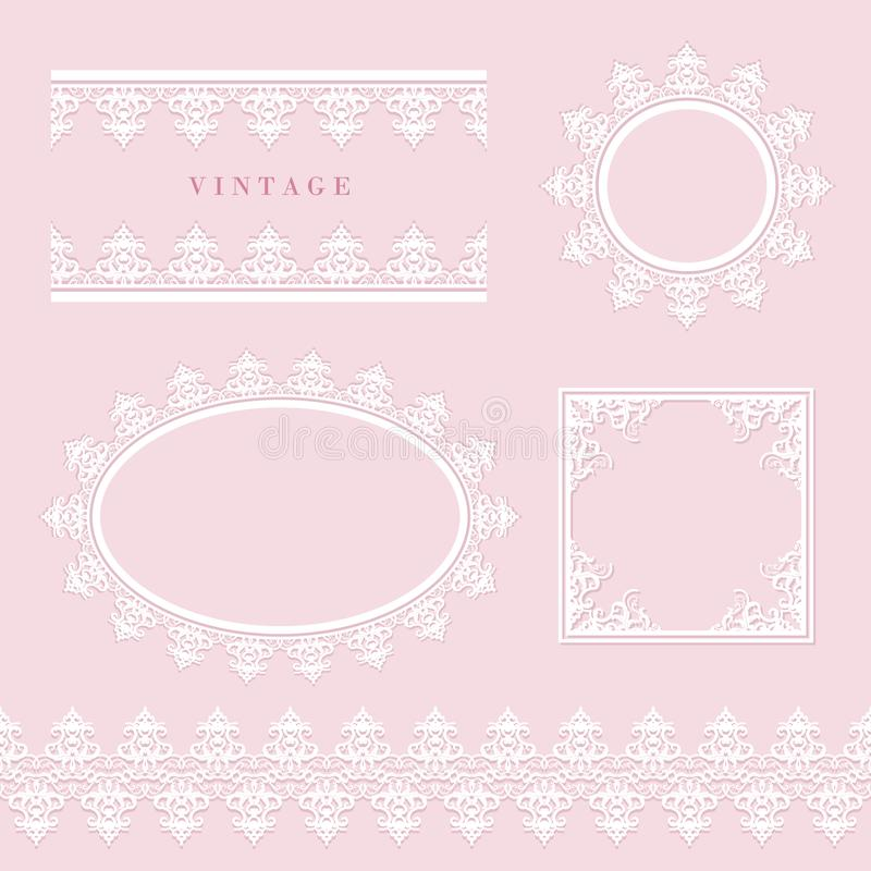Lace decorative frame and border set on pastel pink. Round and oval lacy doilies. Wedding, birthday, baby shower. Scrapbook design. Vector stock illustration
