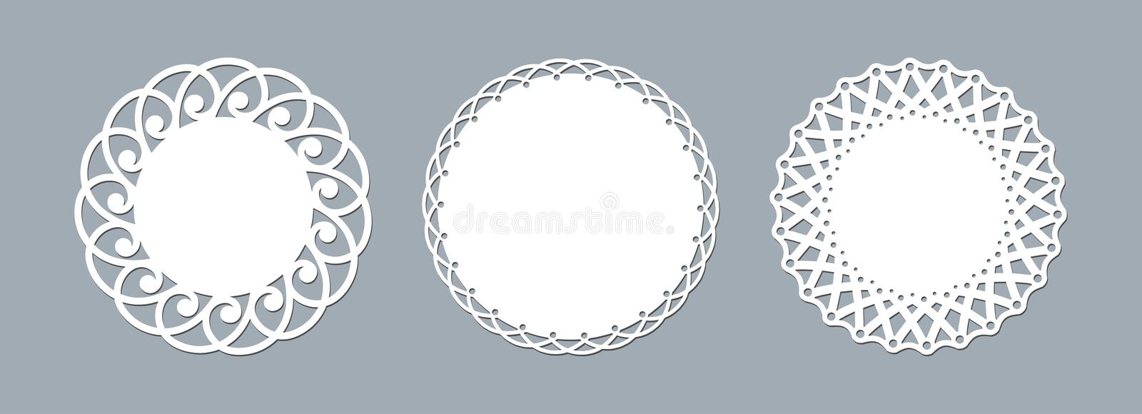 Lace doily laser cut paper Round pattern ornament Template mockup of a round white lace doily napkin lasercut frame Set Design. Lace doily laser cut paper. Round vector illustration