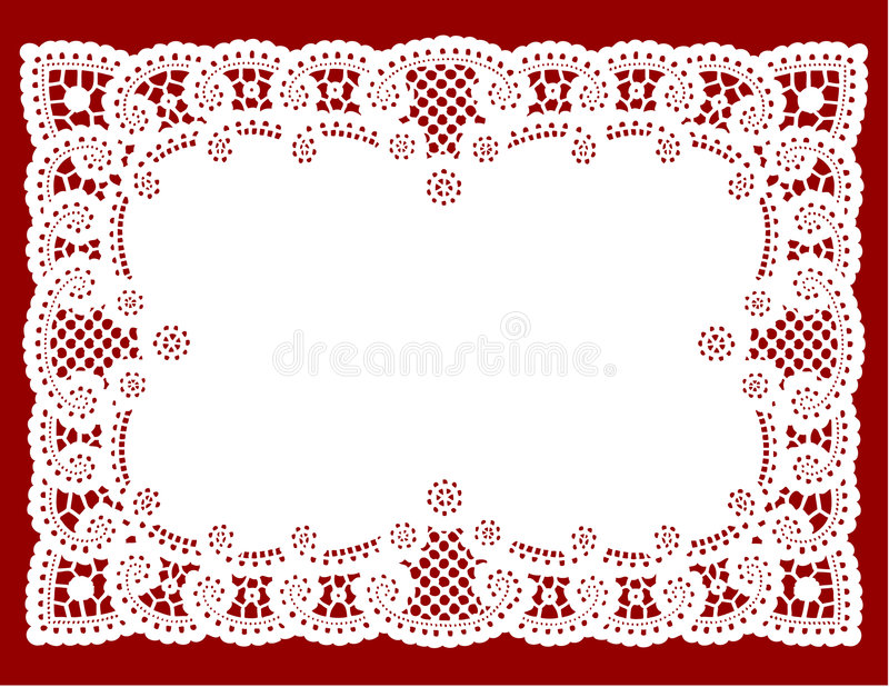 Lace Doily Place Mat. Antique lace doily place mat on a red background for decorating, sewing, celebrations, arts, crafts, cake decorating and setting table