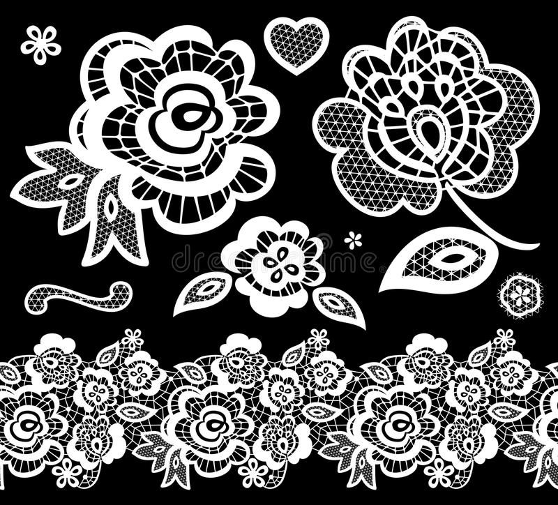 Lace embroidery design elements vector illustration