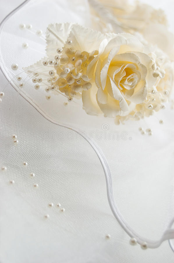 Free Lace Fabric With Roses And Beads Royalty Free Stock Photos - 9527928