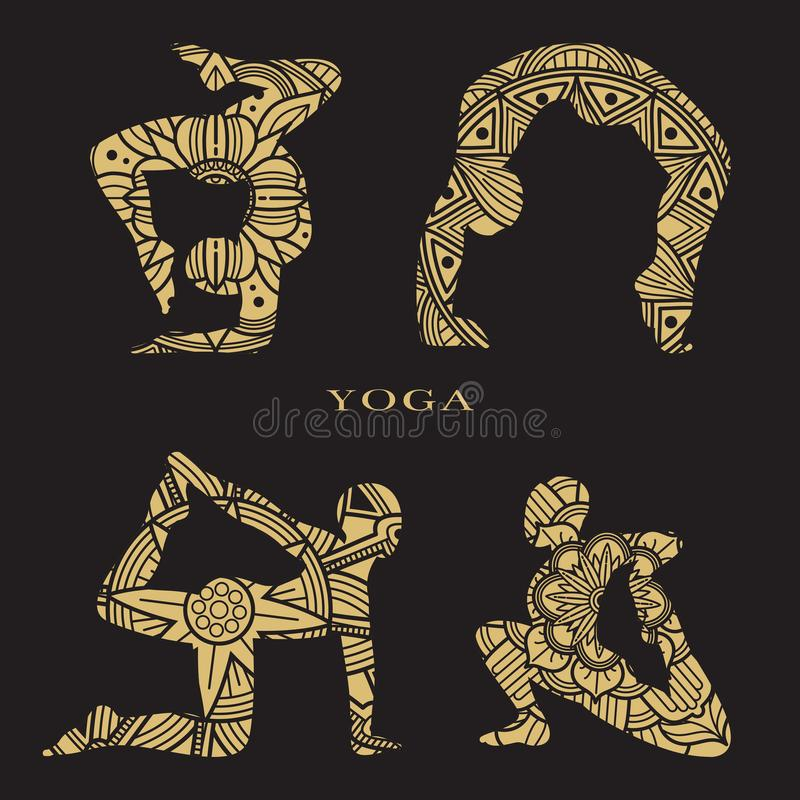 Lace female silhouettes set. Yoga logo elements royalty free illustration