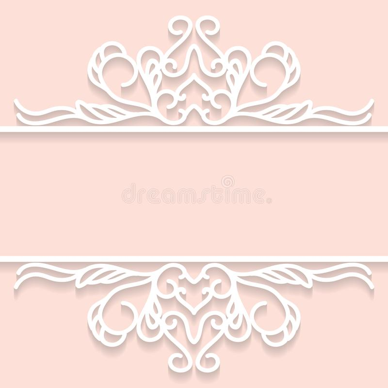 Lace frame with cutout paper decoration, vector greeting card or wedding invitation template with vintage decorative. Vector design element vector illustration