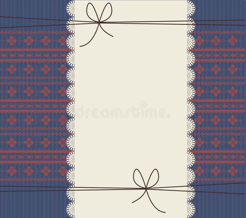 Lace frame with stylish background. Greeting card with lace frame and stylish ornament. Retro frame with cute bows for your designs stock illustration