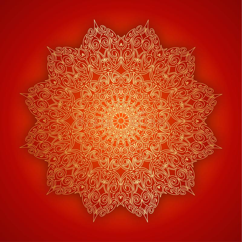 Lace gold mandala with shadow on red background. Vintage decorative elements. Islam, Indian, ottoman symbol. Oriental. Lace gold mandala with shadow on red stock illustration