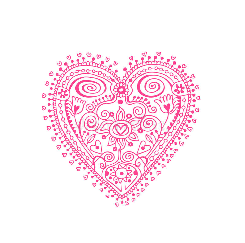 Lace Heart. Design element with lacy heart in doily style. The two sides of the heart are not identical because it was drawn by hand royalty free illustration