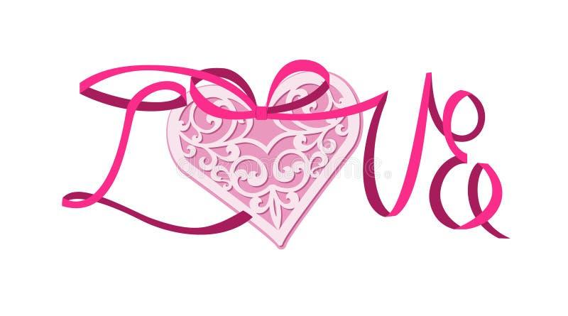 Lace heart on satin ribbon royalty free illustration