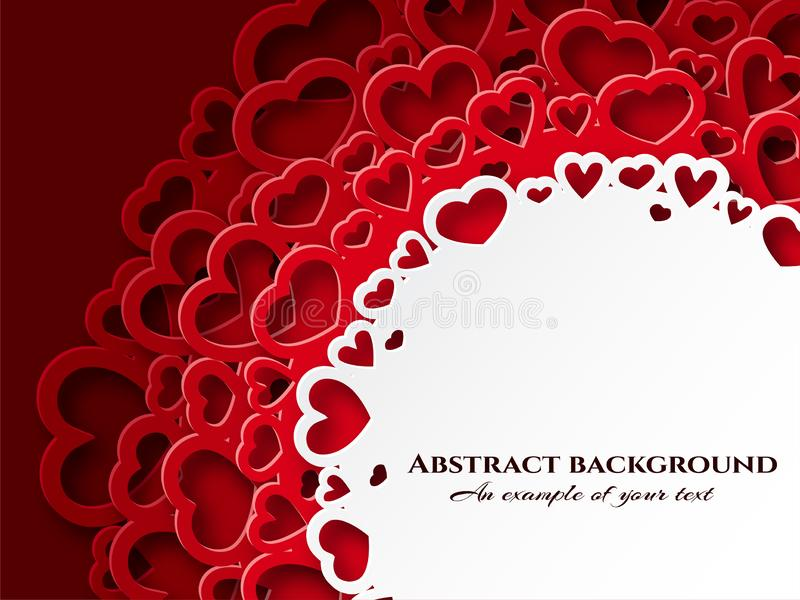 Lace of hearts in the style of paper cut. Symbols of love vector for happy women, mother, valentine`s day, birthday royalty free illustration