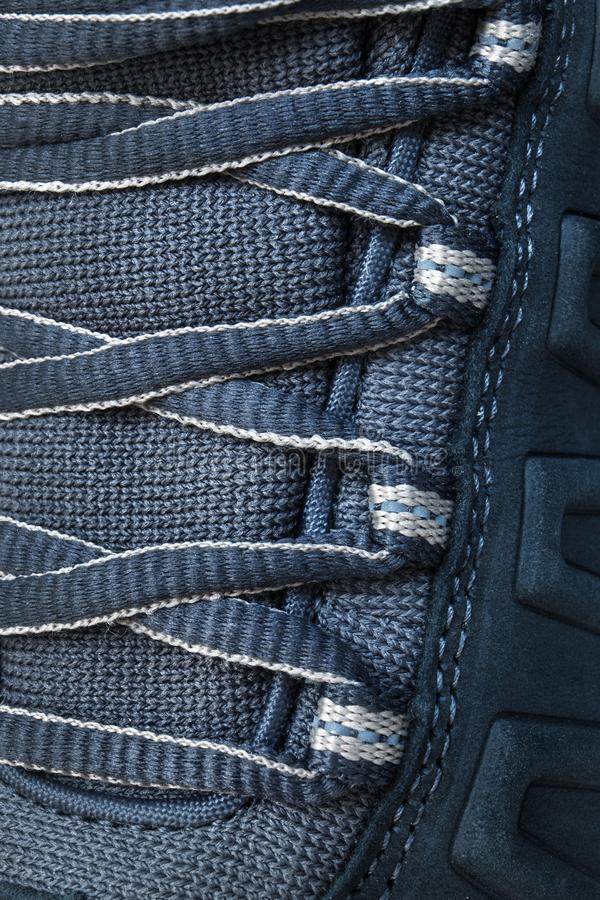 Lace on hiking boots. Close up royalty free stock images