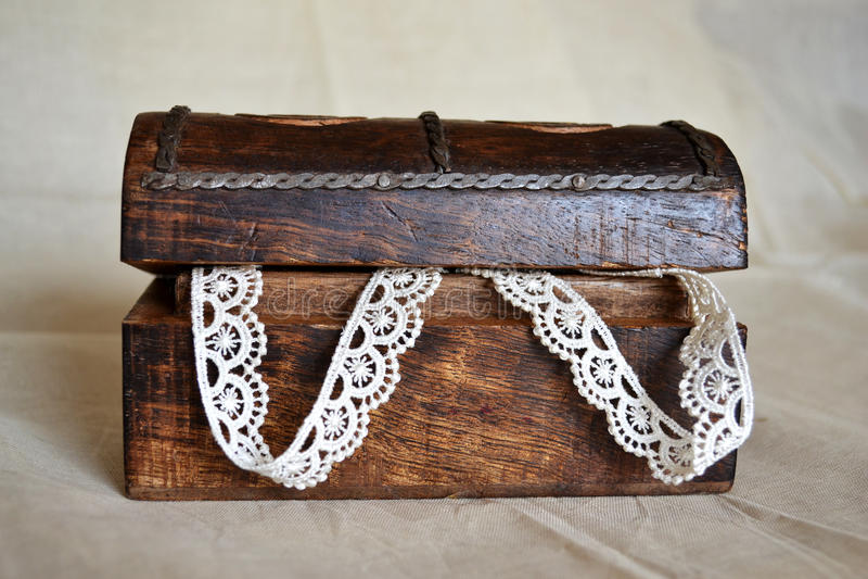 Lace Keepsake Wooden Box royalty free stock photo