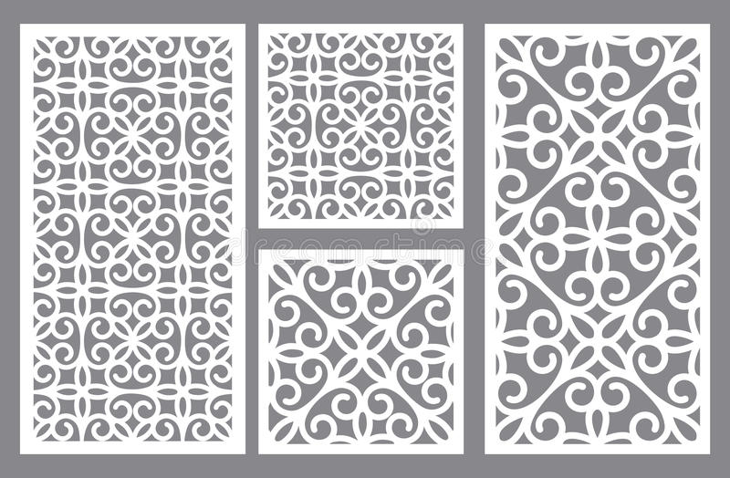 Lace laser cut panels. stock vector. Illustration of ornamental ...