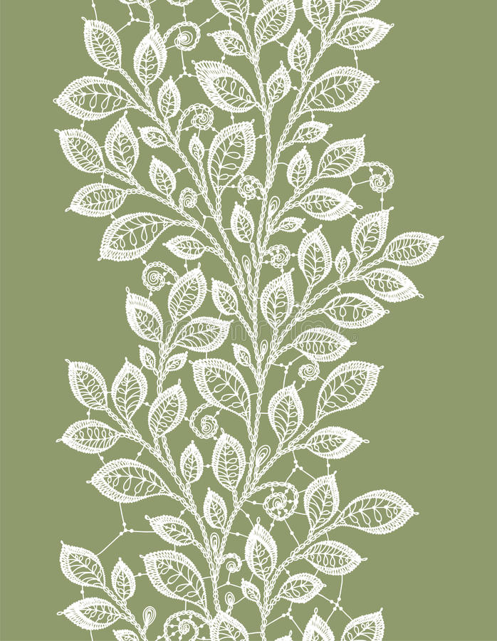 Lace leaves vertical seamless pattern. royalty free illustration