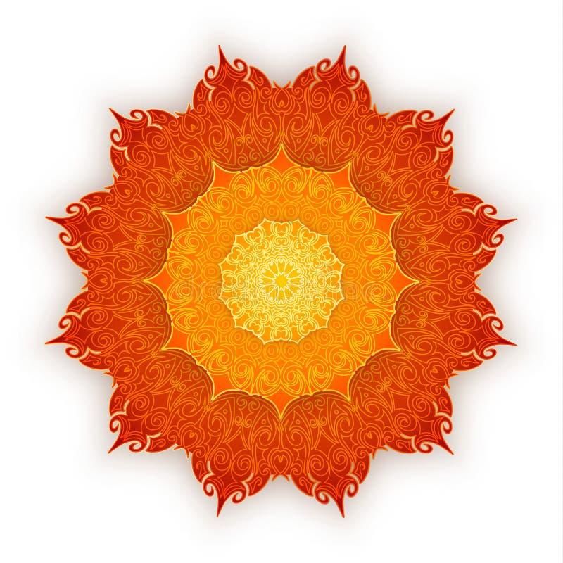 Lace orange mandala with shadow on white background. Vintage decorative elements. Islam, Arabic, Indian, ottoman motifs. stock illustration