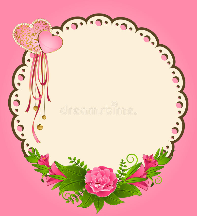 lace ornaments and flowers stock illustration