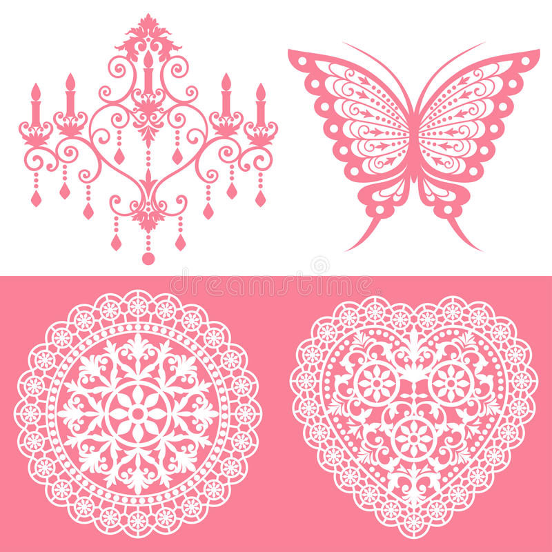 Lace ornaments set vector illustration