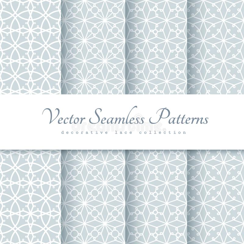 Lace patterns in neutral color royalty free illustration