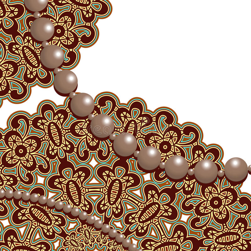 Lace and pearls stock illustration