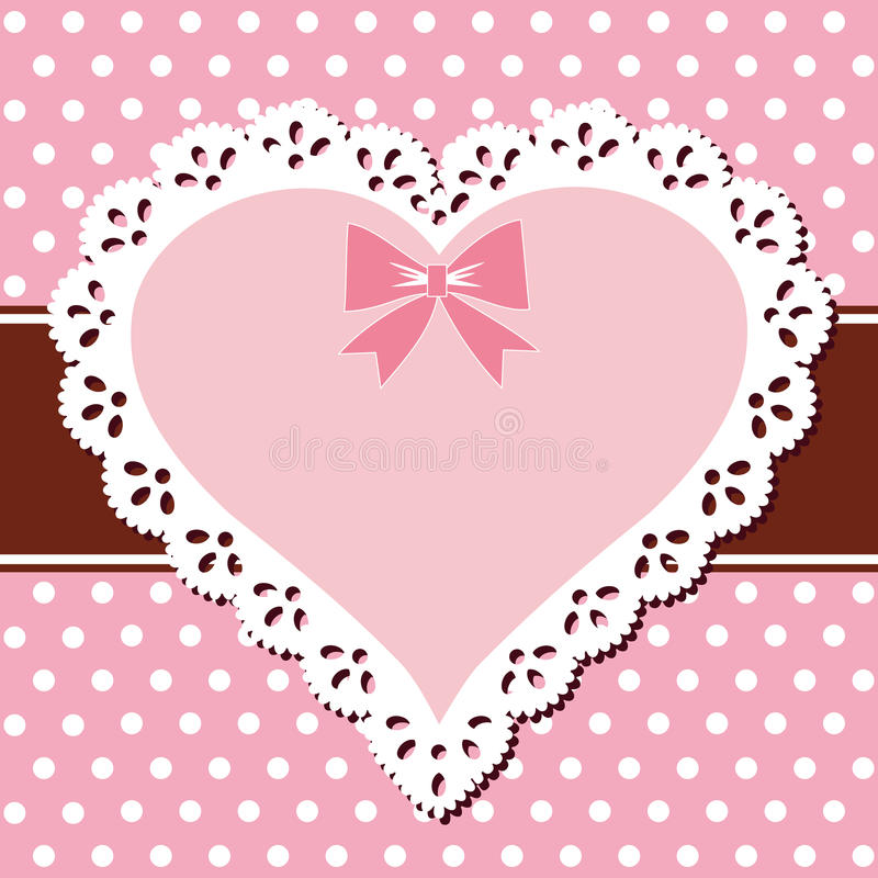 Lace Pink Heart Stock Photography