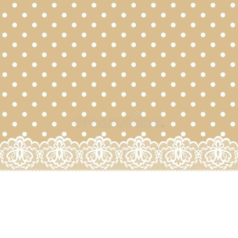 Lace and ribbon on polka dot fabric vector illustration
