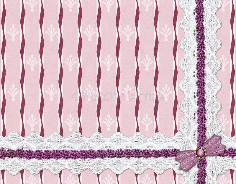 Lace ribbon on a striped background