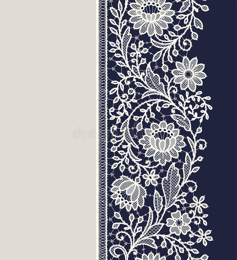 Lace ribbon vertical seamless pattern. Blue Backgrounds royalty free illustration