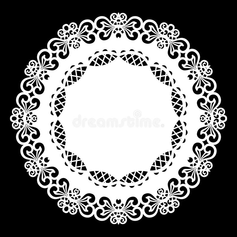 Lace round paper doily, lacy snowflake, greeting element, template for cutting plotter, laser cut template, doily to decorate t. He cake, vector illustrations vector illustration