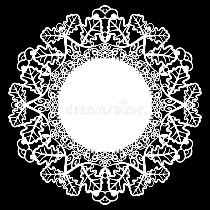Lace round paper doily, patern of oak leaves, greeting element, laser cut template, doily to decorate the cake. Vector illustrations royalty free illustration