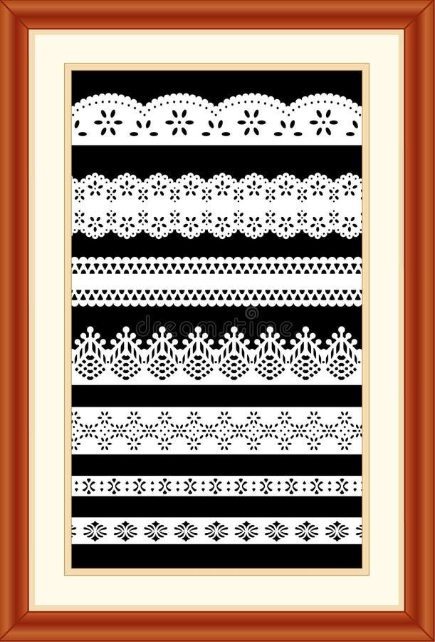 Lace Sampler in Cherry Wood Frame vector illustration