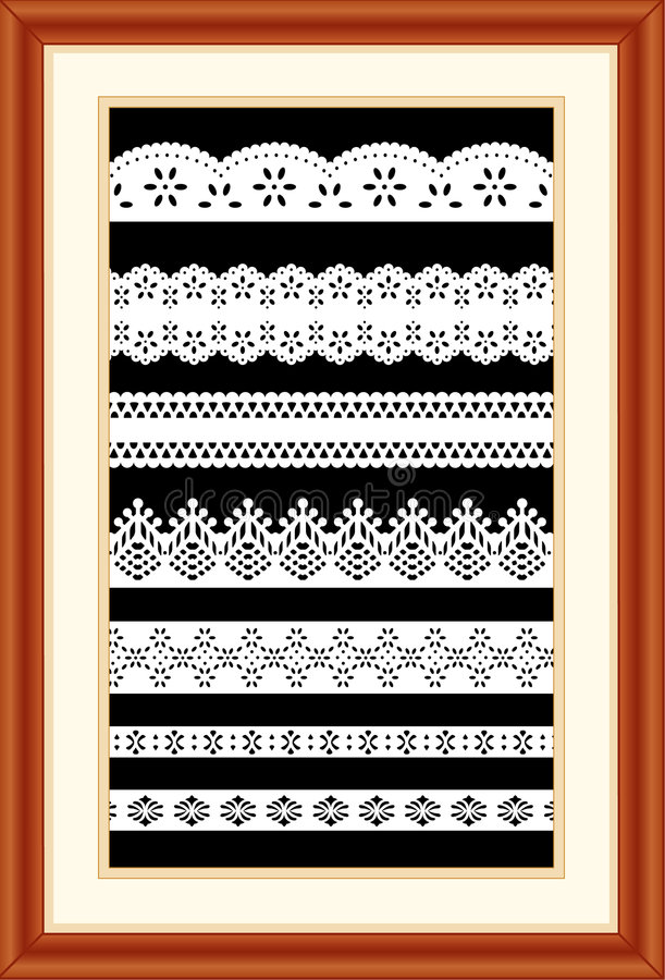 Free Lace Sampler In Cherry Wood Frame Stock Photography - 4963352