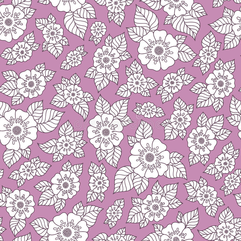 Lace seamless hand drawn pattern. Hand drawn doodle Flowers. Floral Seamless pattern - Vector illustration. Purple Floral background royalty free stock photos