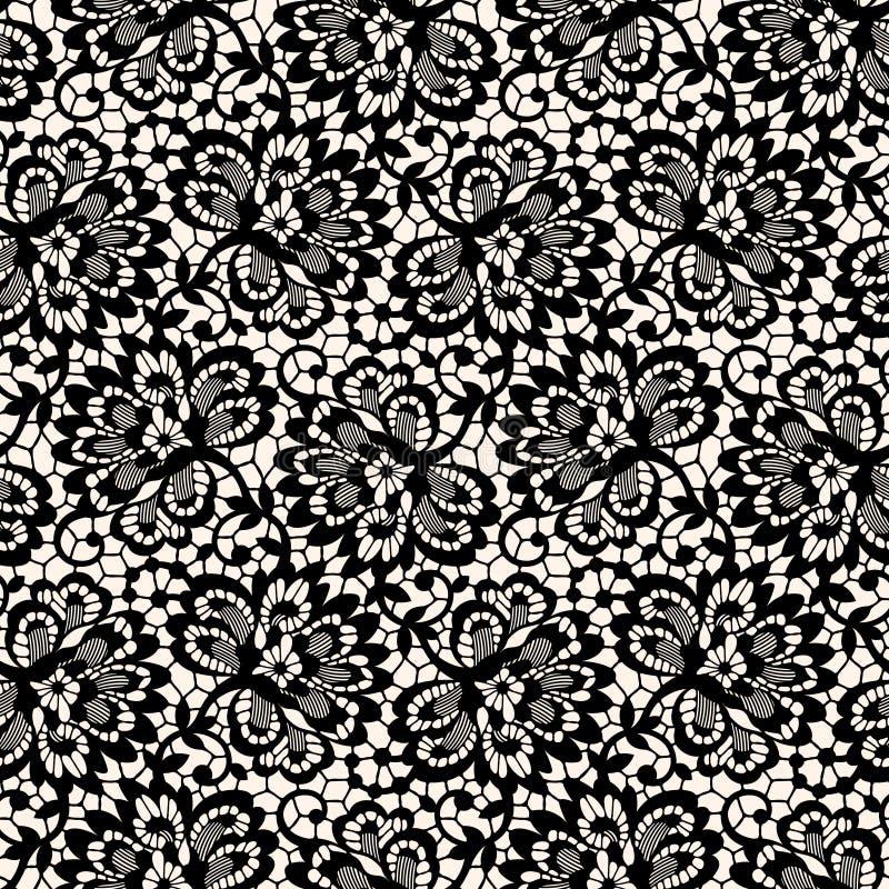 Lace Seamless Pattern. Black Lace Seamless Pattern. Pastel Background stock illustration