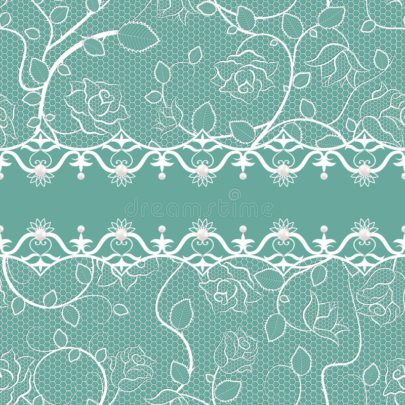 Lace seamless pattern with pearls stock photos