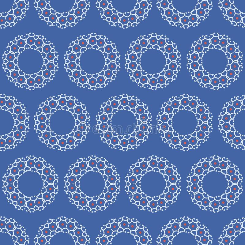 Lace Texture Circle Seamless Vector Pattern, Sketchy Polka Dot Hand Painted Illustration. For Trendy Home Decor, Summer Fashion Prints, Wallpaper, Red White royalty free illustration
