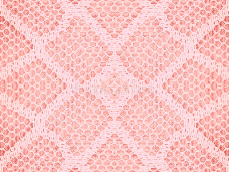 Lace Texture Pattern In Pink. A pink lace fabric texture background pattern stock photo
