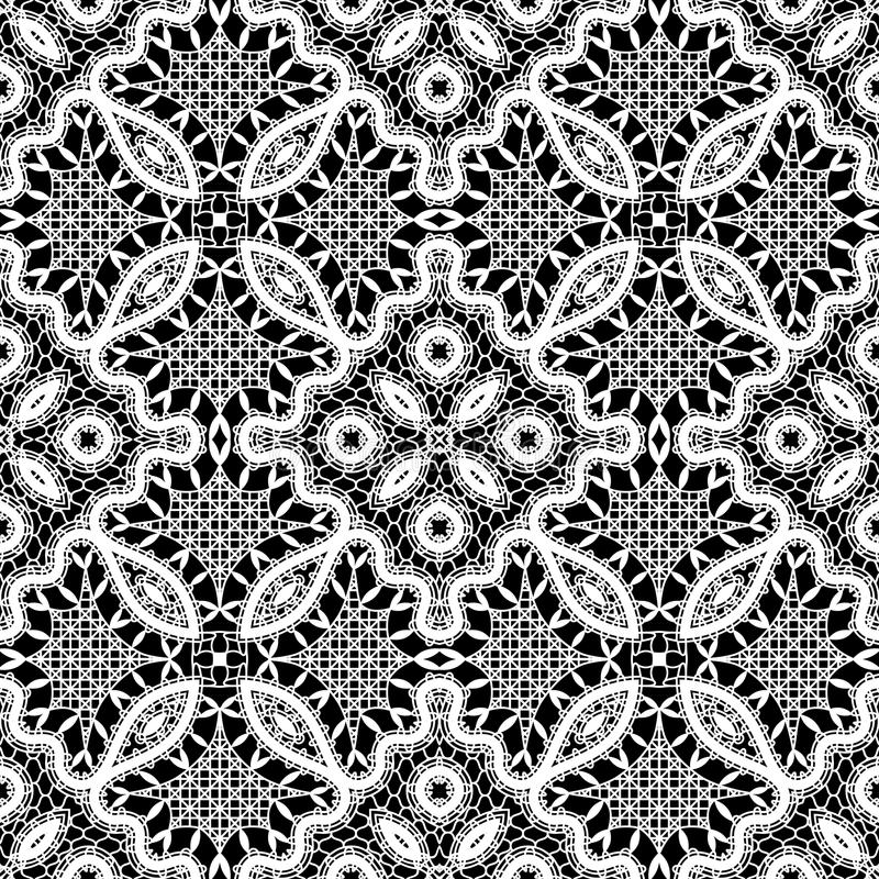 Lace texture. White lace texture on black, seamless pattern, vintage lacework ornament stock illustration