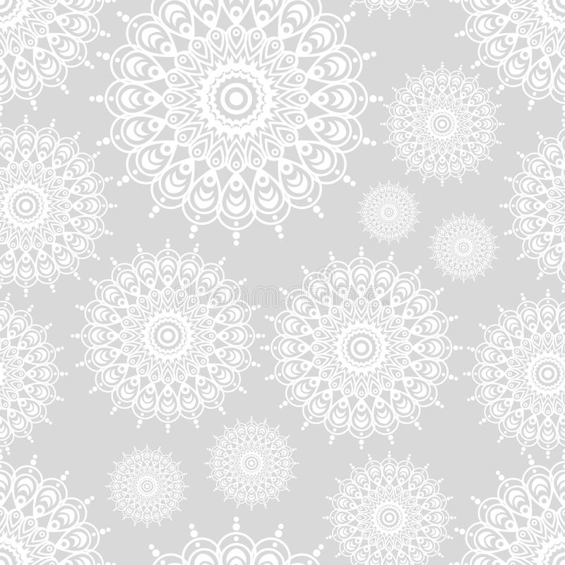 Lace texture. White on gray. Seamless background with abstract geometric pattern. Lace texture. White Texture. White on gray. Seamless background with abstract royalty free illustration