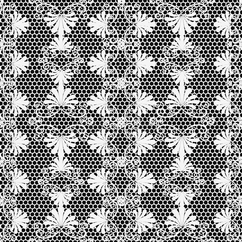 Lace textured black and white elegance floral vector seamless pattern. Ornamental grid lattice greek style background. Repeat. Decorative grunge backdrop vector illustration