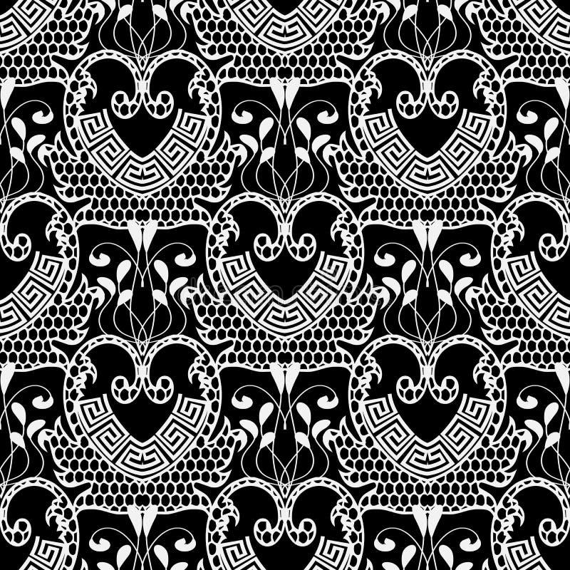 Lace textured black and white floral greek vector seamless pattern. Ornamental elegance grid lattice flourish background. Repeat. Backdrop. Vintage greek key stock illustration