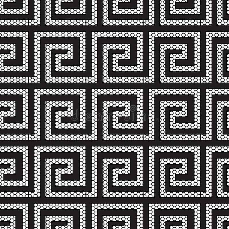 Lace textured geometric modern greek vector seamless pattern. Ornate black and white grid lattice patterned greek key meanders. Ornament. Ornamental abstract royalty free illustration